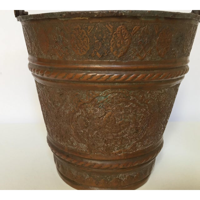 Gold Anglo-Raj Mughal Metal Copper Vessel Bucket For Sale - Image 8 of 12