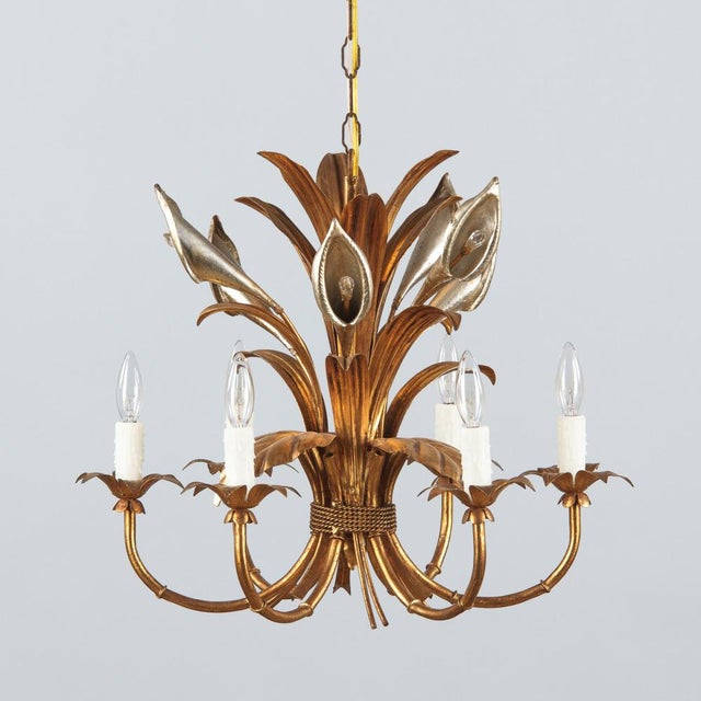 1950s French Gilded Metal Chandelier For Sale - Image 9 of 13