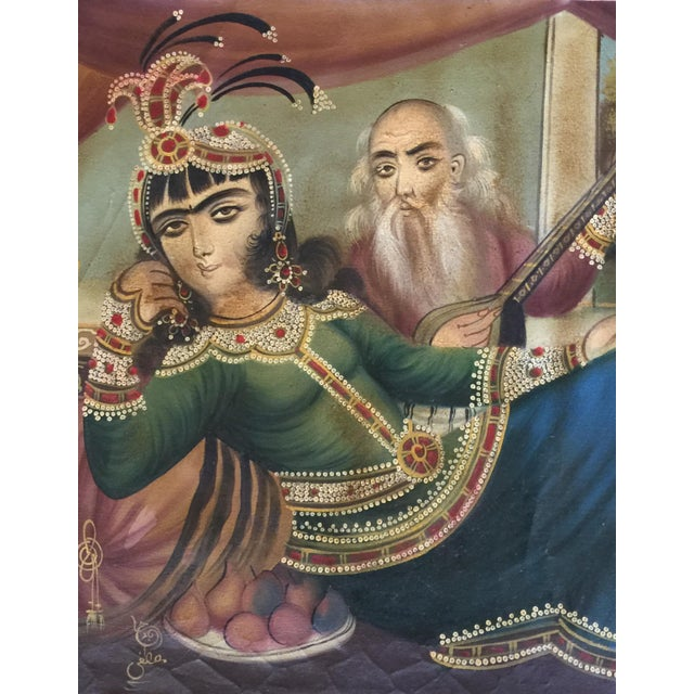Islamic Antique 19th Century Qajar Tea House Signed Oil Painting on Canvas For Sale - Image 3 of 13