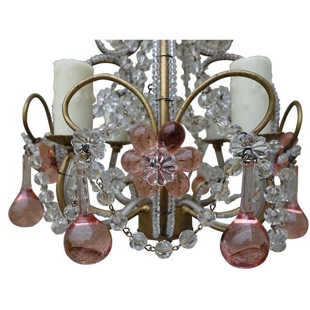 Petite Pink Crystal Drop Chandelier - Image 3 of 4