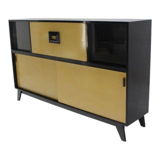 Mid-Century Modern Black Lacquer Credenza For Sale