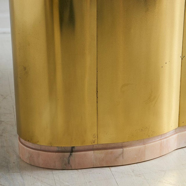 Metal Pink Marble and Brass Coffee Table With Scalloped Base For Sale - Image 7 of 8