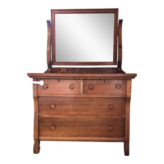 Vintage Tiger Oak Wood Dresser W/ Beveled Mirror – Park Slope For Sale