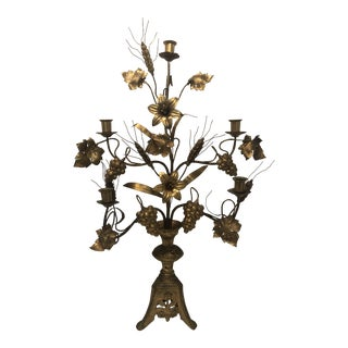 19th Century Antique French Gilded Floral Candelabra For Sale