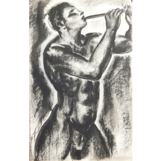 """Early 20th Century """"Nude Pan Figure with Pipe"""" Art Deco Figurative Nude Charcoal Drawing by Paul Daxhelet For Sale"""