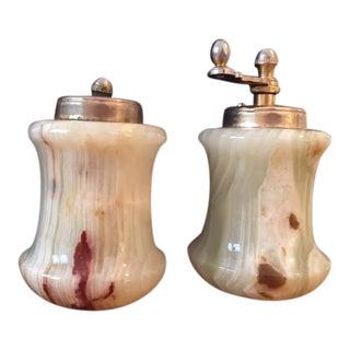 Italian Onyx Salt & Pepper Shakers - a Pair For Sale