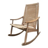Image of Hans Wegner Style Woven Rope Rocking Chair For Sale