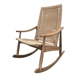 Hans Wegner Style Woven Rope Rocking Chair For Sale