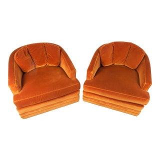 1970s Orange Velvet Swivel Chairs, Pair For Sale