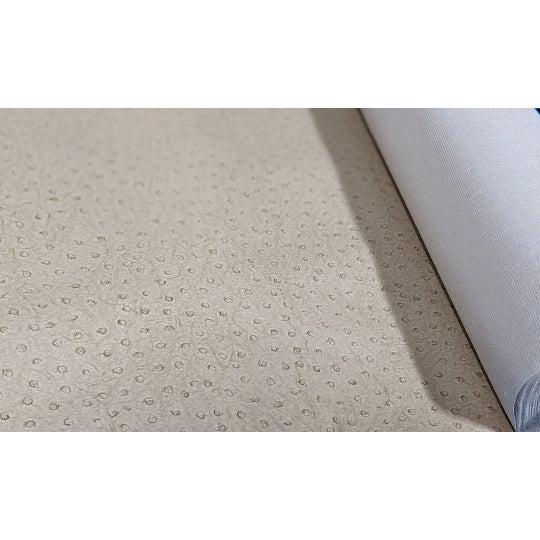 Beige Ostrich pattern/textured wall covering will add a nice touch to any area. Woven back. Class A Type II Vinyl....
