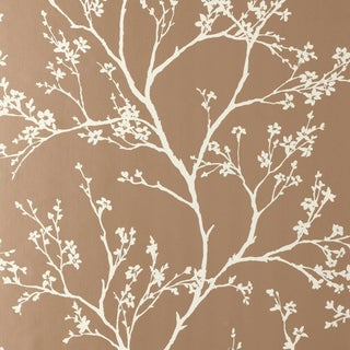 Sample - Schumacher Twiggy Wallpaper in Champagne For Sale