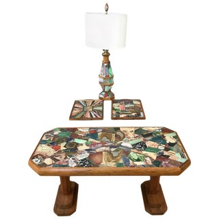 W. E. Browning Stone Mosaic Walnut Coffee Table, Tray, and Lamp Set, 1972 For Sale