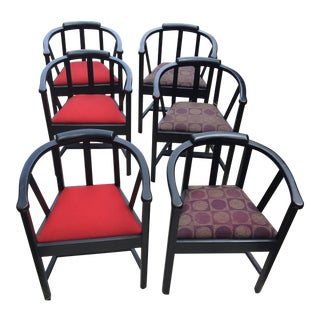 1950s Mid Century Modern Red and Purple Upholstered Dining Chairs - Set of 6
