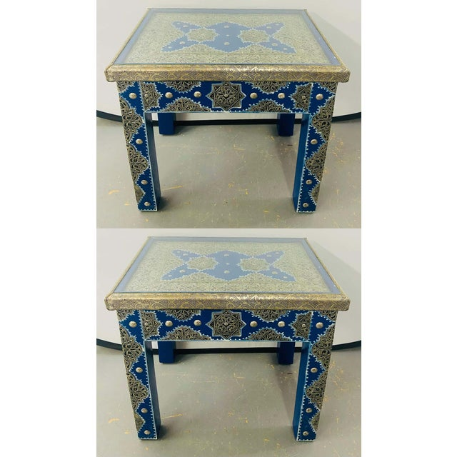 Hollywood Regency Style Moroccan Brass Blue Rectangular Side or End Table, Pair For Sale - Image 13 of 13