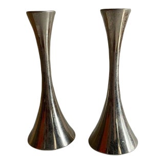 Mid-Century Modern Chrome Candle Holders by A.S. Solingen, Germany - a Pair For Sale