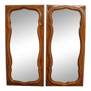 French Louis XV Style Vintage Walnut Wall Mirrors - a Pair For Sale