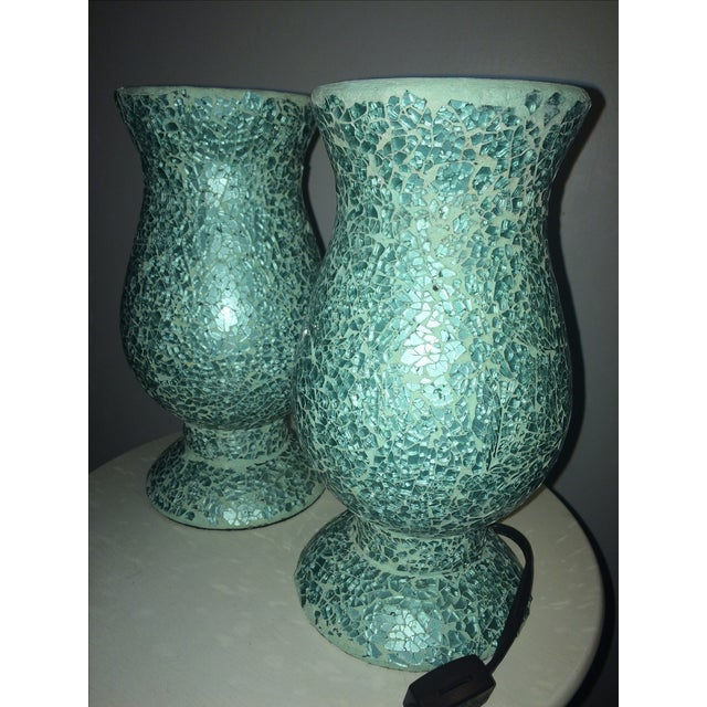 Mosaic Hurricane Lamps in Tiffany Blue - Image 3 of 4