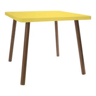 "Tippy Toe Small Square 23.5"" Kids Table in Walnut With Yellow Finish Accent For Sale"