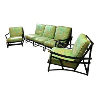 Heywood Wakefield Asian Black Wood Sofa Set - Set of 3