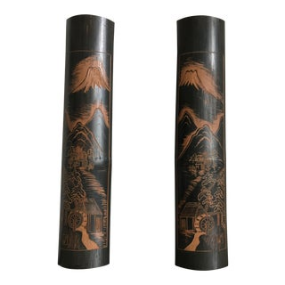 Hand-Carved Bamboo Wall Lights - a Pair For Sale