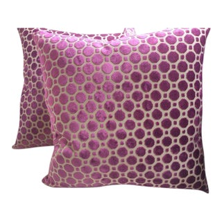"Magenta ""Geo"" Design Pillows - a Pair For Sale"