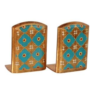 Vintage Italian Florentine Toleware Gold Gilt Turquoise Bookends - a Pair For Sale