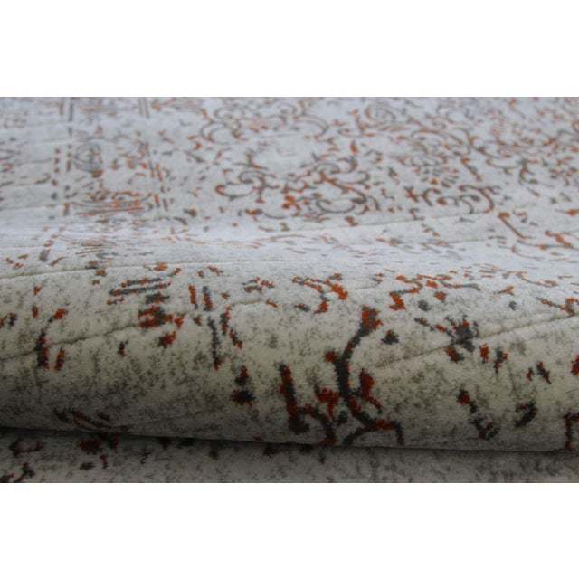 "Distressed Turkish Gray Orange Rug - 5'3"" x 7'7"" - Image 3 of 6"