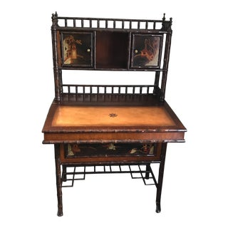 20th Century Asian Leather and Bamboo Writing Desk