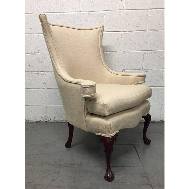Queen Anne Pair of Queen Anne Style Wingback Chairs For Sale - Image 3 of 6