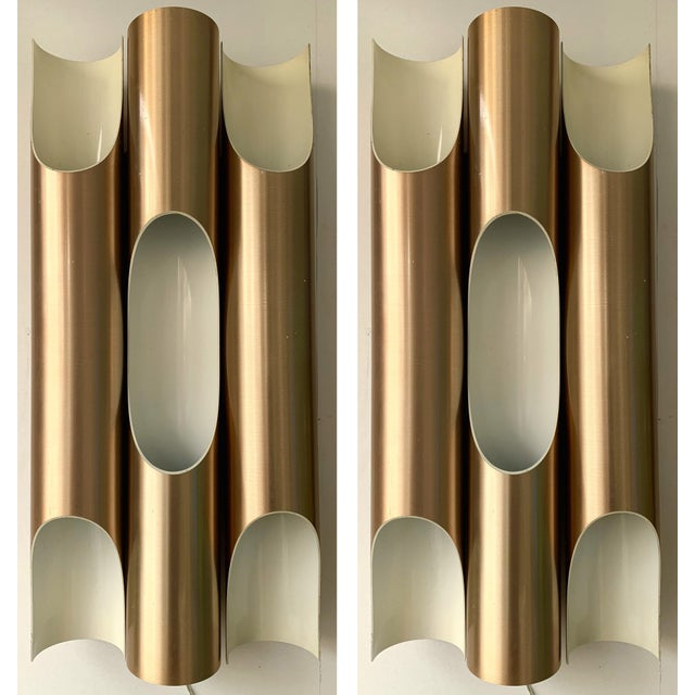 Pair of Maxi Fuga Sconces Gilt Metal by Komulainen for Raak Amsterdam. 1970s For Sale - Image 12 of 12