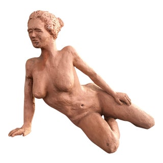 1970s Vintage Nude Clay Sculpture For Sale
