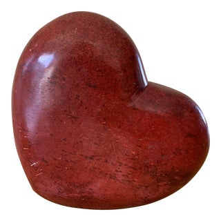 Vintage Stone Carved Heart Decor Accent For Sale