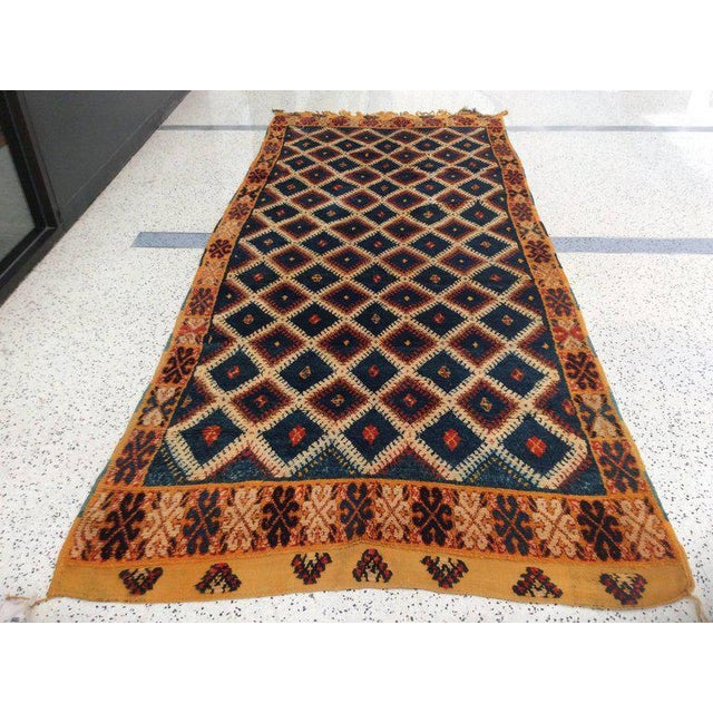 Islamic Navy Moroccan Runner - 4′8″ × 11′3″ For Sale - Image 3 of 6
