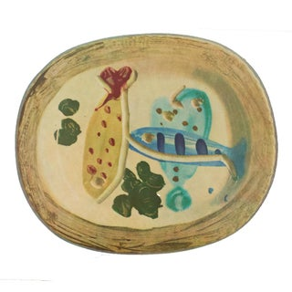 1955 Pablo Picasso Ceramic Plate With Fish and Olives, Original Period Swiss Lithograph For Sale