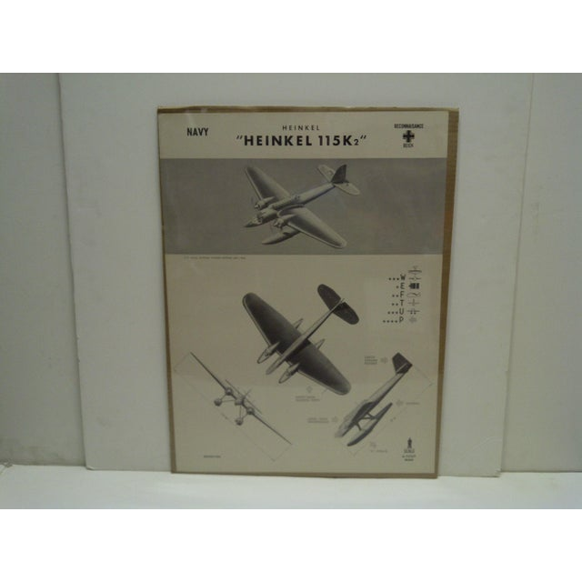 "This is a Vintage -- World War II Aircraft Recognition Poster -- ""Heinkel 115 K2"" -- German -- November 1942 -- The Poster..."
