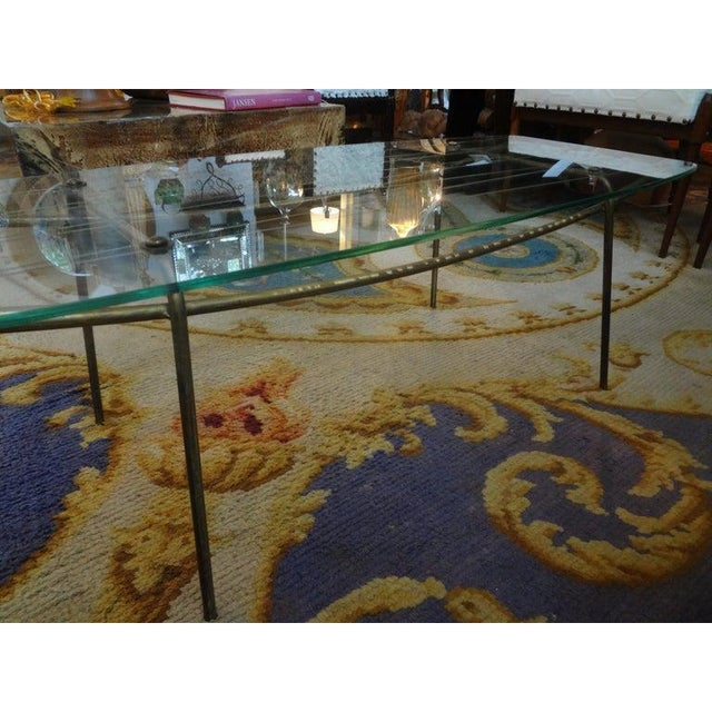 Mid-Century Modern Italian Gio Ponti Inspired Brass and Glass Coffee Table For Sale - Image 3 of 13