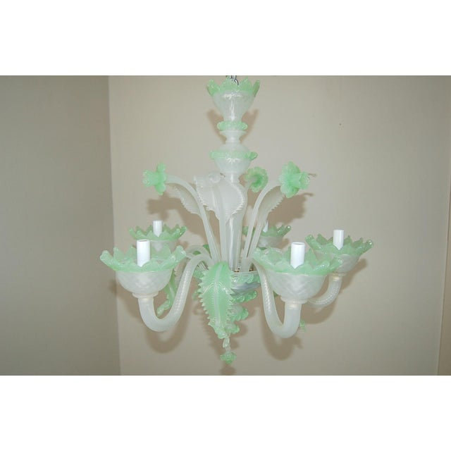 Very chic vintage Venetian five-light Murano glass chandelier, circa 1950s, made of WHITE OPALINE and GREEN OPALINE glass....