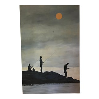 Original Oil on Board Painting Fishermen