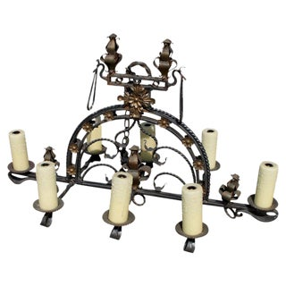 20th Century Art Deco Wrought Iron and Gilt Chandelier For Sale