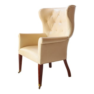 Transitional Barrel Wingback Wing Chair Upholstered in Edelman Leather For Sale