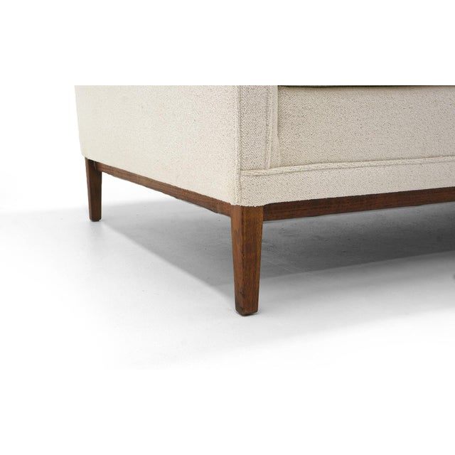 Mid 20th Century Sectional Sofa, Five-Seat, Two-Piece, Even Arm, Off White, Restored, Excellent For Sale - Image 5 of 8