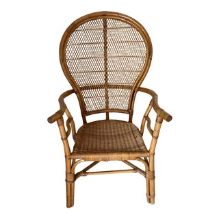 Vintage Rattan Bamboo and Wicker Natural Wood Peacock Boho Style Chair For Sale