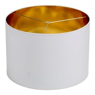 Large White High Gloss Drum Lamp Shade With Gold Lining For Sale