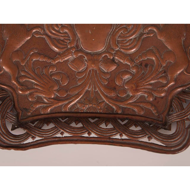 Antique French Copper Tray with Heraldic Lions circa 1890 For Sale In Houston - Image 6 of 8
