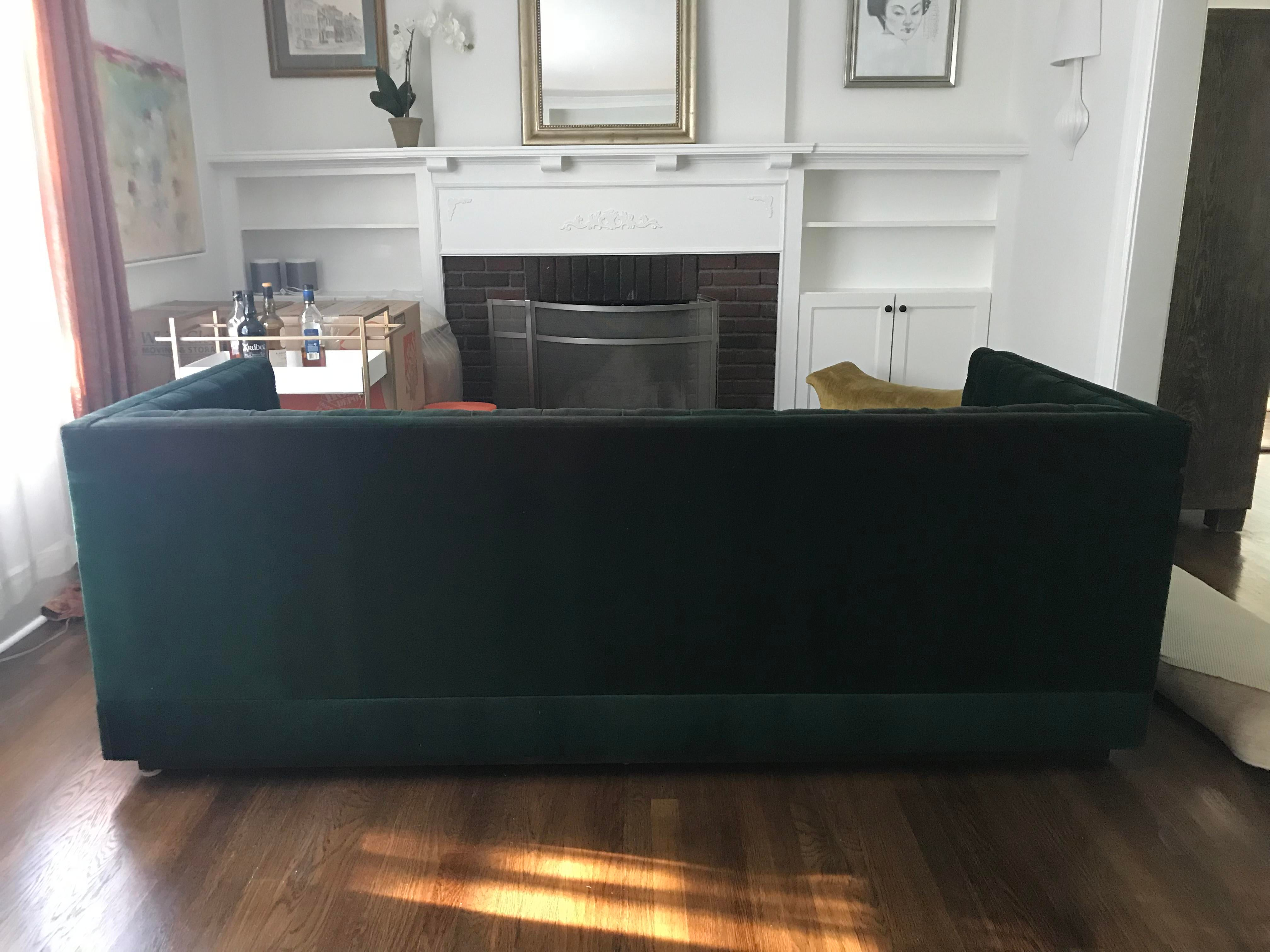 Art Deco Emerald Green Velvet Sofa For Sale   Image 3 Of 6