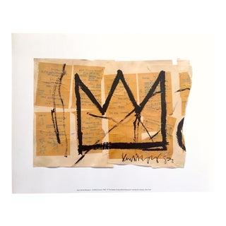 "Jean Michel Basquiat Estate Fine Art Offset Lithograph Iconic Pop Art Print "" the Crown "" 1982 For Sale"