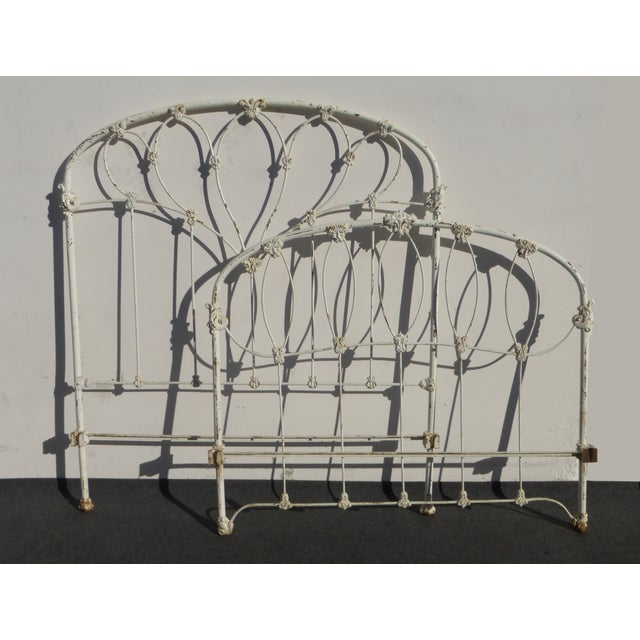 Antique French Country Full Iron Bed Frame Farmhouse Chic Headboard