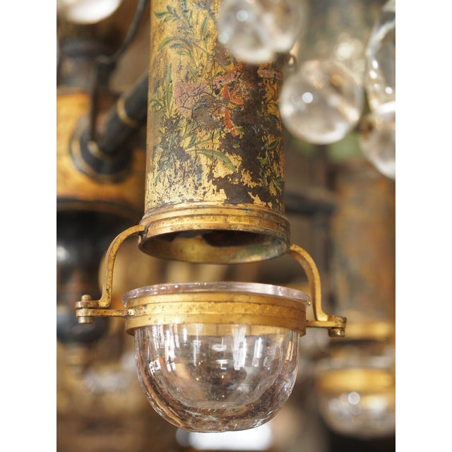 Metal 18th Century French Tole and Crystal Chandelier For Sale - Image 7 of 11