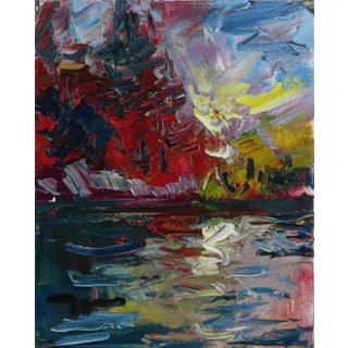 """""""Autumn Sunset"""" Contemporary Lake Landscape Oil Painting by Jose Trujillo For Sale"""