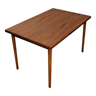 Vintage Danish Mid Century Teak Dining Table W Two Leaves - Basse For Sale